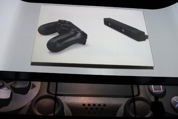The game controller shown on the screen as Sony introduced the PlayStation 4 at a news conference 20 February in New York. Photo: AFP